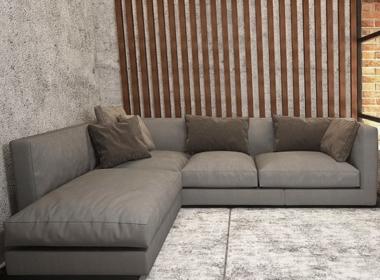 серый угловой диван в гостинную