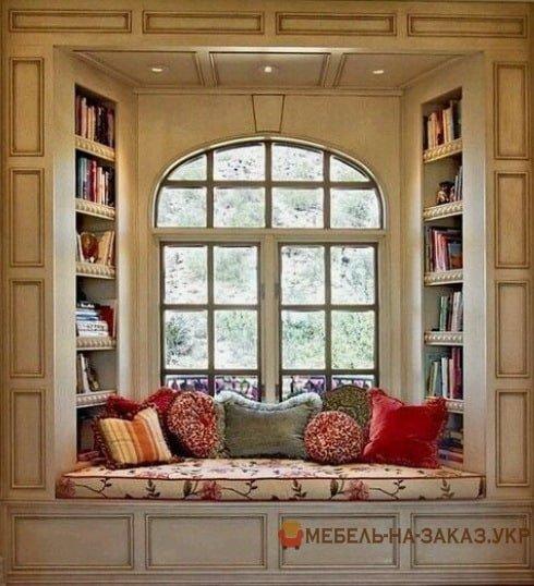 подоконник диван библиотека дизайнерские идеиидеи фото
