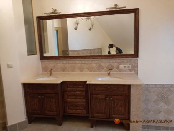 деревянная тумба на две мойки в ванную