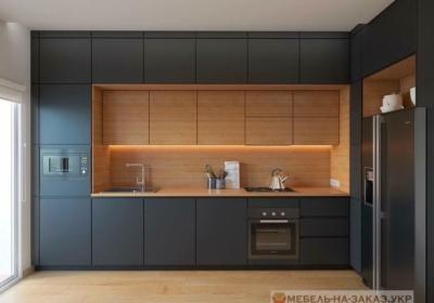 темно синяя угловая кухня