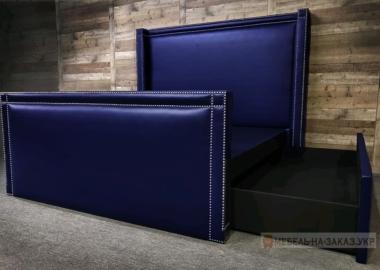 Синяя кровать премиум класса с выдвижными ящиками