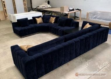 п образнй диван синий с подушкой